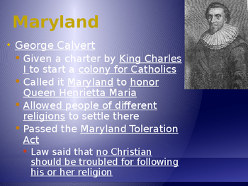 Establishment of the 13 Colonies - Southern Colonies Powerpoint