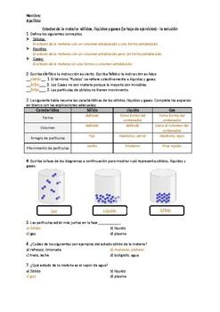Estados de la materia: sólidos, líquidos y gases - la hoja de ejercicios