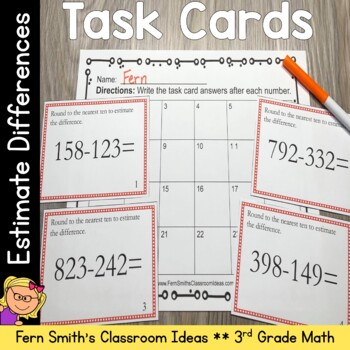 Estimating Differences Task Cards - Use Rounding to Estimate the Difference