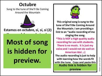 Estamos en octubre Spanish October Song {Canción en español}