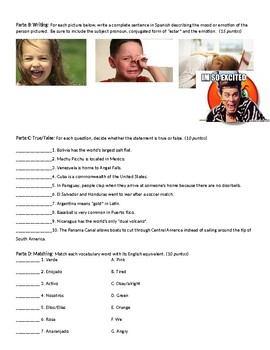 Estar, Emotions , Colors, Countries Quiz