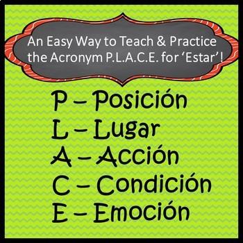 Estar P.L.A.C.E. - Spanish Drawing & Practice Activity