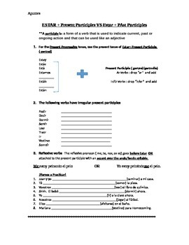 Past Participle Spanish Worksheets & Teaching Resources | TpT