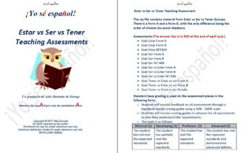 Tener vs Estar vs Ser Quizzes  Teaching Material
