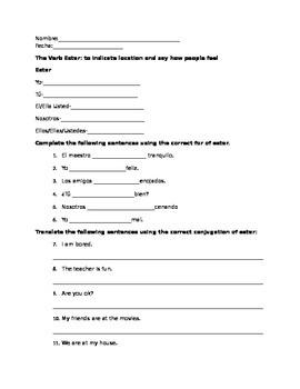 Estar Worksheet