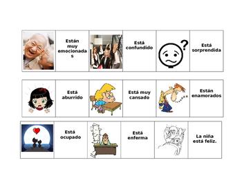 Estar + adjectives of emotion. JUEGO DE DOMINO.