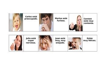 Estar + adjectives of emotion. JUEGO DE DOMINO.