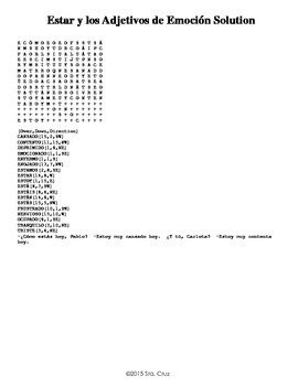 Estar and Feelings Crossword and Word Search