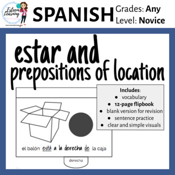 Estar and Prepositions of Location Flipbook - Spanish Interactive Notebook
