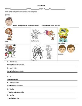 Estar with emotions and tener phrases communicative activity Spanish