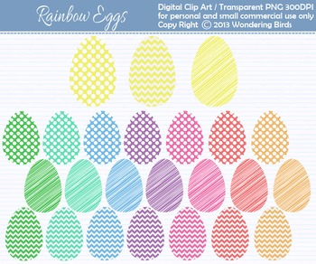Ester eggs clip art - set of 24 clip arts