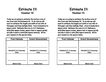 Estimate It! Estimating Drills, U.S. & Metric Units, Length, Area, Weight, Time