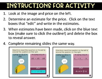 Estimate Products Activity - Whole Numbers and Decimals