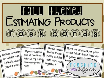 Estimate Products Word Problem Task Cards (Fall Theme)