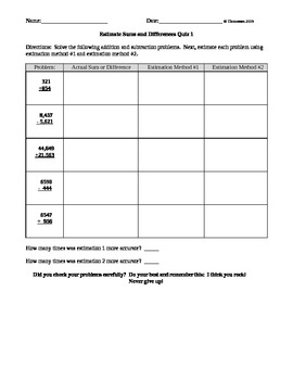 Estimate Sums and Differences Quiz 1