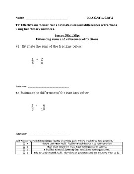Estimate Sums and Differences of Fractions