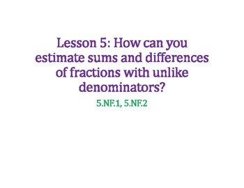 Estimate Sums and Differences of Fractions PowerPoint