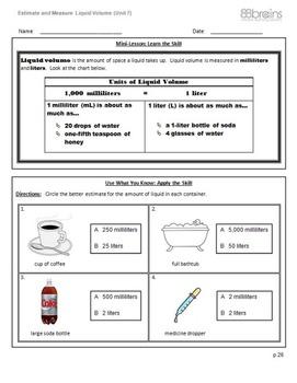 Estimate and Measure Liquid Volume pgs. 26 - 28 (CCSS)