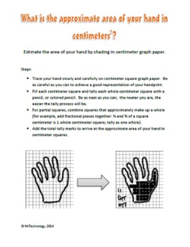 Estimate the Area of Your Hand in Square Centimeters with Extension Activities