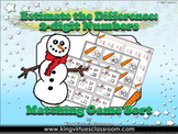 Estimate the Difference: 2-digit Matching Game Sort Subtraction - Winter Snowman
