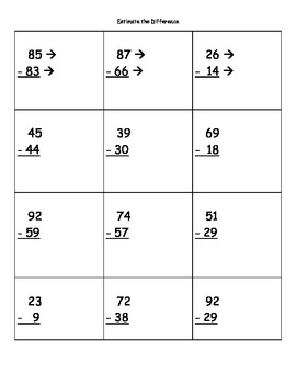 Estimate the Difference (2-digit Numbers) Practice Sheets