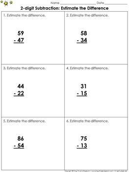 Estimate the Difference: 2-digit Subtraction Practice Sheets - Rounding