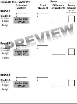 Estimate the Quotient Game (Part of Division Unit)