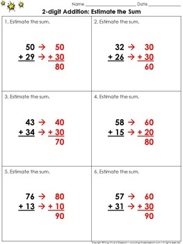 Estimate the Sum: 2-digit Addition Practice Sheets - Rounding - King Virtue