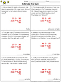Estimate the Sum: 2-digit Addition Problem Solving Practice Sheets - Rounding