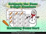 Estimate the Sum: 2-digit Numbers Matching Game Sort - Addition - Winter Snowman