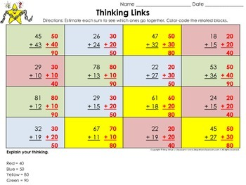 Estimate the Sum: 2-digit Numbers Thinking Links Activity #3 - Addition