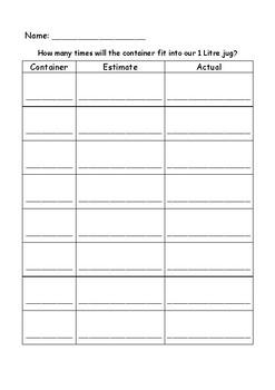 Estimating Capacity Worksheet