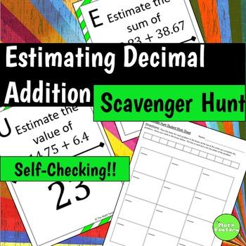 Estimating Decimal Addition Scavenger Hunt Activity
