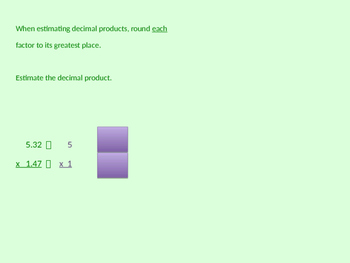 Estimating Decimal Products powerpoint instruction & student practice