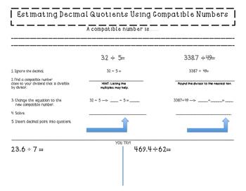 Estimating Decimal Quotients with Compatible Numbers