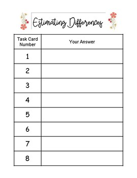 Estimating Differences Task Cards Answer Sheet and Key