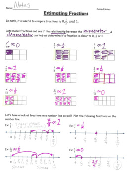 Estimating Fractions GUIDED NOTES
