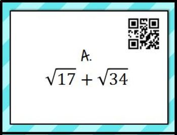 Estimating Irrational Expressions Task Cards with QR Codes - Math Centers
