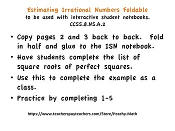 Estimating Irrational Numbers Foldable for Use with Interactive Notebooks