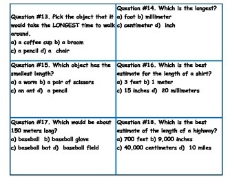 Estimating Length TEKS 2.9 E Task Cards