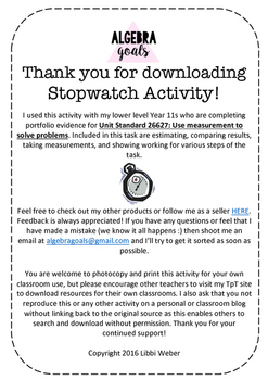 Estimating, Measuring, and Converting Time Using a Stopwatch-FREEBIE (NCEA 1.5)