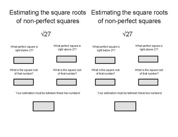 Estimating Non perfect squares notes page