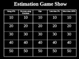 Estimating Percents Game Show PowerPoint