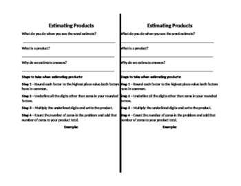 Estimating Products Notes