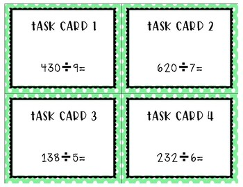 Estimating Quotients Task Cards