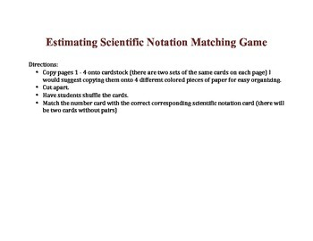 Estimating  Scientific Notation matching game