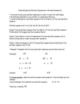 Estimating & Simplifying Non-Perfect Squares