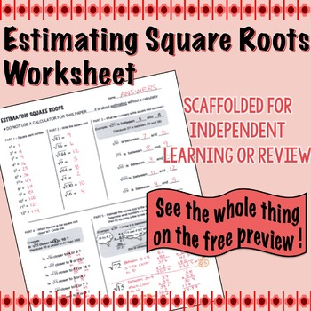 estimating square root scaffolded worksheet with answers by lisa tarman. Black Bedroom Furniture Sets. Home Design Ideas