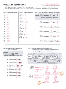 Estimating Square Root Scaffolded Worksheet with Answers by Lisa Tarman