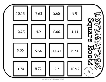 Estimating Square Roots Number Sort, Matching Game 8.NS.A.2